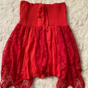 New Venus Lace Up Off Shoulder Smocked Tunic Top S
